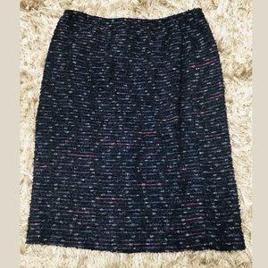 Lafayette 148 NY Navy Tweed Pencil Skirt Sz 4